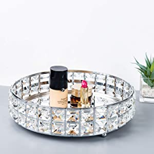 Feyarl Mirrored Crystal Vanity Makeup Tray Ornate Jewelry Trinket Tray Organizer Sparkly Bling Cosmetic Perfume Bottle Tray Decorative Tray Home Deco Dresser Skin Care Tray Storage (Silver)