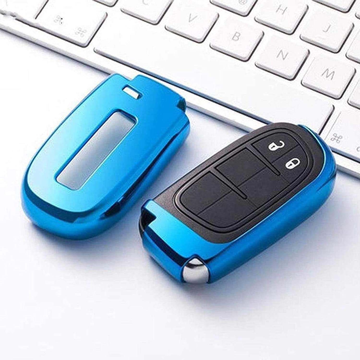 Xotic Tech TPU Soft Remote Key Fob Cover with Braided Keychain for Jeep Chrysler Dodge,Glossy Blue Xotic Tech Direct