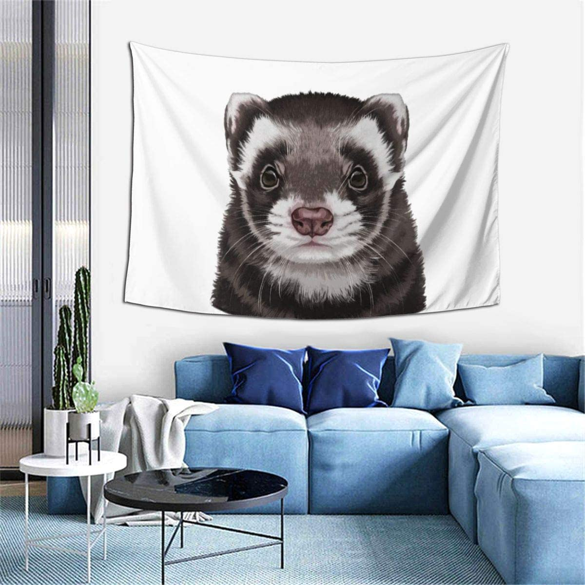 Marrtly Cute Animal Ferret Pet Tapestry Wall Hanging Decorative Wall Art Tapestries for Bedroom,Living Room,Home Decoration 60 X40 in