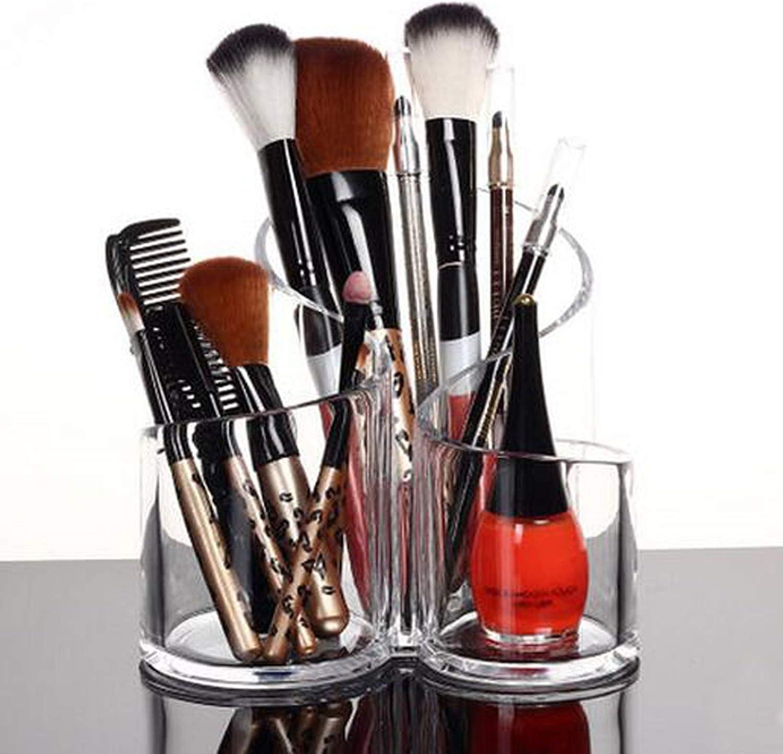PuTwo Makeup Brush Holder, Makeup Brush Organizer, Cosmetic Organizer, Acrylic Makeup Organizer, Acrylic Makeup Brush Holder, Desktop Organizer of 3 Slots