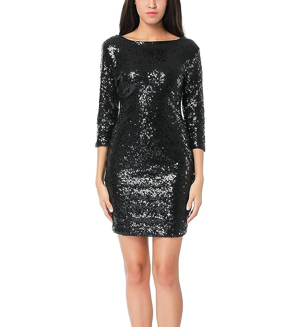fbbbb76042 Doramode Women's Sexy Glitter 3/4 Sleeves Backless Zipper Bodycon Short  Pencil Club Dress