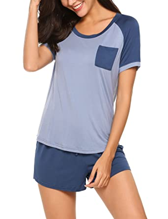 3b6763d5c3 Ekouaer Women s Modal Round Neck Sleepwear Short Sleeve with Shorts Pajama  Set Blue S