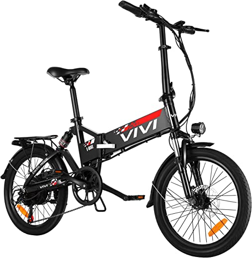 Vivi Folding Electric Bike, Electric Commuter Bike 350W Ebikes for Adults 20'' Electric Bicycle with Removable 8Ah Battery, Full Suspension, Shimano 7 Speed