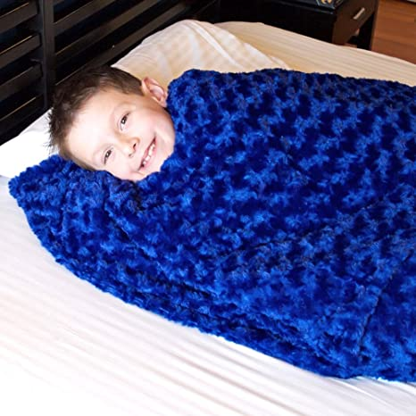 Pleasant Huggaroo Weighted Lap Pad Snuggle Or Sleep Blanket For Kids Or Adults 100 Washable Blue Chenille Theyellowbook Wood Chair Design Ideas Theyellowbookinfo