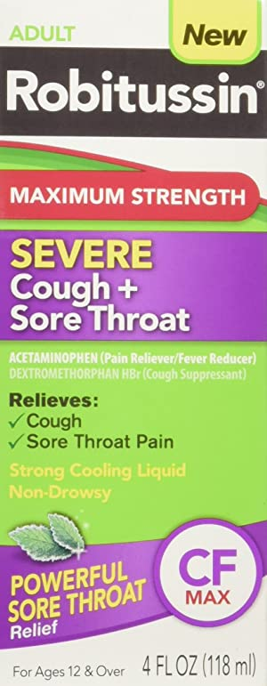 Robitussin Adult Maximum Strength Severe Cough + Sore Throat Relief Medicine, Cough Suppressant, Acetaminophen (4 Fluid Ounce Bottle)