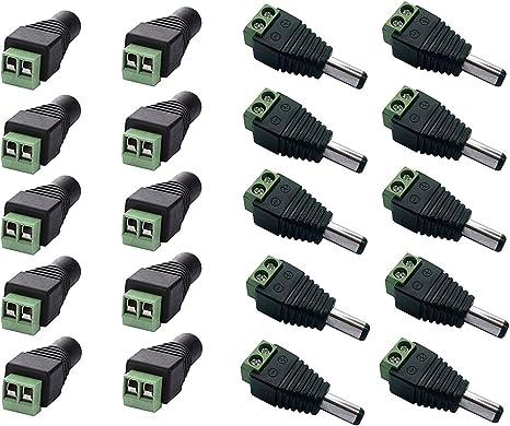 10X 12 V Stecker+Buchse 2,1x5,5mm DC Power Stecker Jack Adapter Stecker für  G