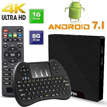 W95 TV Box 2.4GHz WiFi 4K Android 7.1 Quad Core 2.0GHz TF card//USB2.0