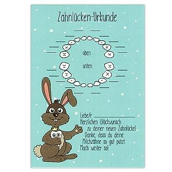 Zahnlücken Urkunde - Hase - Zahnfee Geschenke, Zahnlücke, Milchzähne ...