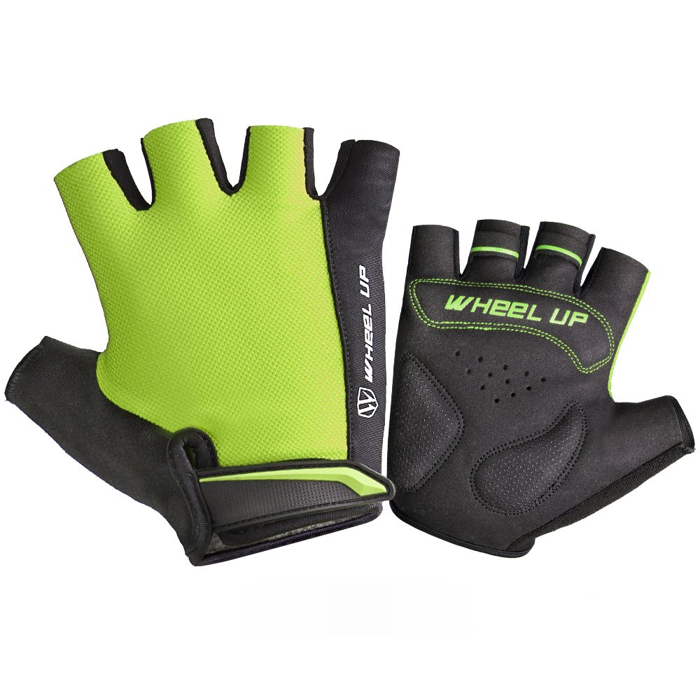 ホイールUp半分指サイクリンググローブ衝撃吸収マウンテンバイク乗馬手袋、通気性バイクグローブ滑り止めスポーツサイクリング手袋SBR (イエロー、L ) B076YS1FSR