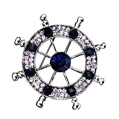 d146e185c Sharplace Men Nautical Brooch Badge Pin Ships Wheel Helm Pin Pin Clips Navy  Style Crystal Corsages - Silver: Amazon.co.uk: Jewellery