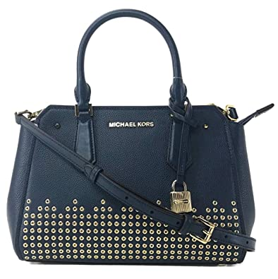 7648144b854fd5 Amazon.com: MICHAEL Michael Kors Hayes Medium Blue Leather Messenger ...