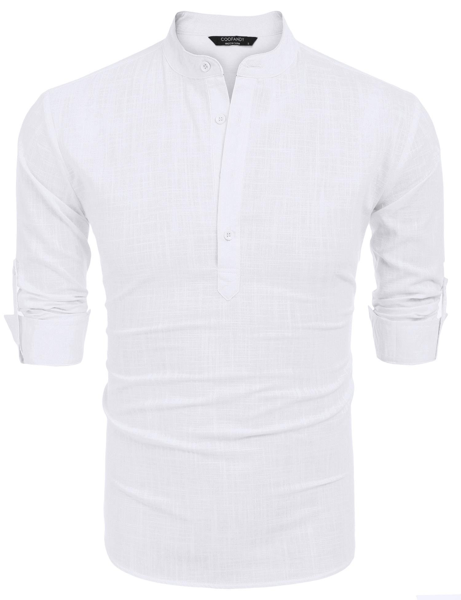 COOFANDY Men Premium Henley Neck Linen Shirts Casual Long Sleeve Basic Shirts,White,Large, White, Large