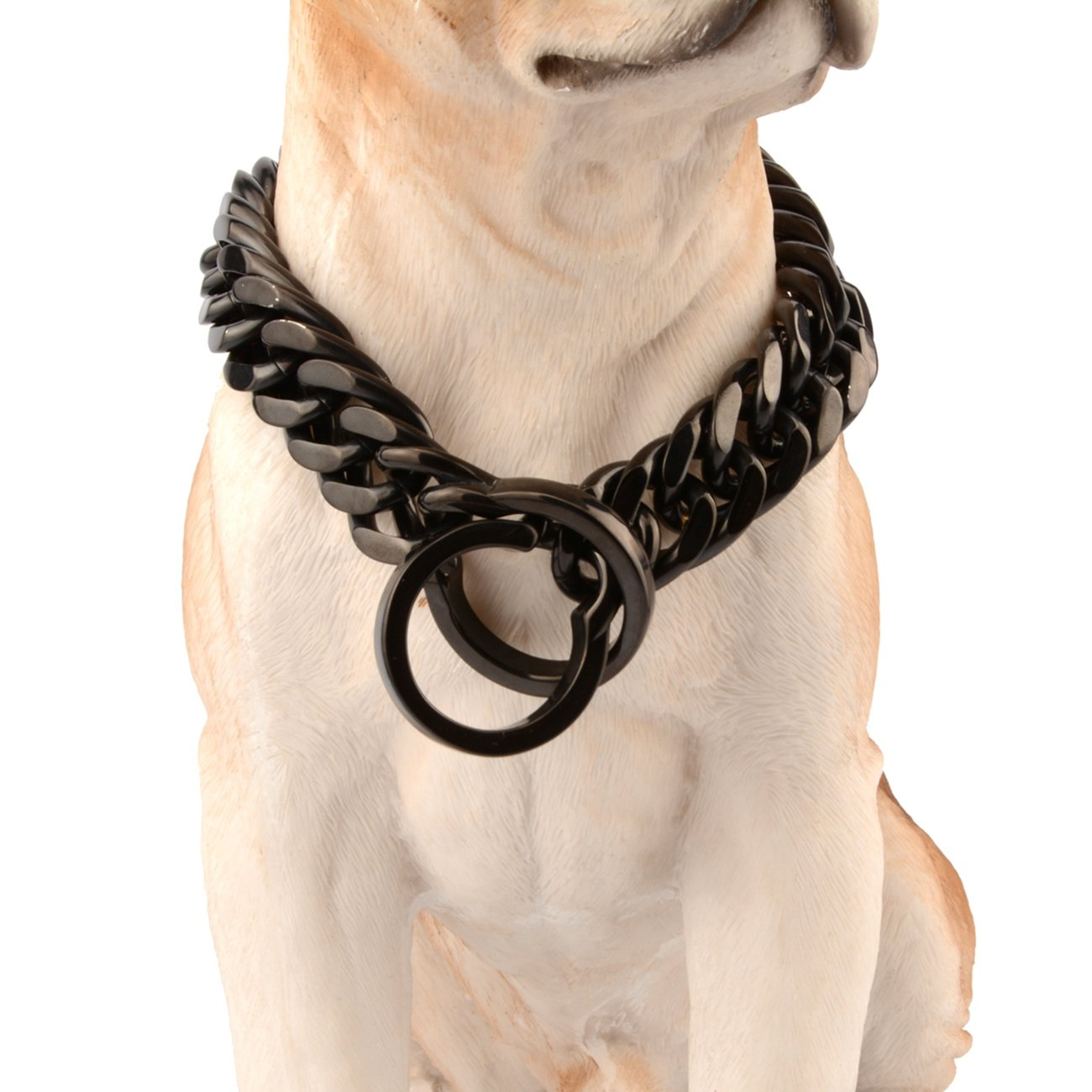 18inch recommend dog's neck 14inch Innovative jewelry 18mm Stainless Steel Black Curb Chain Strong Dog Choke Chain Collar Pet Necklace Best Pit Bull, Mastiff,& More Breeds,16 -36 (18 )