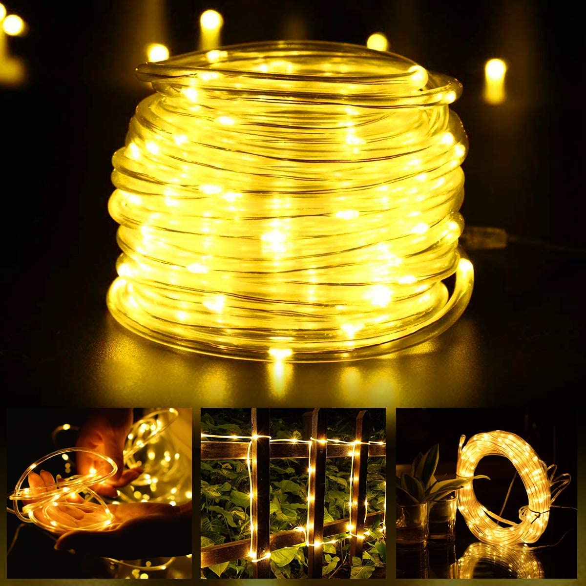 Solar String Rope Lights, 40 FT 100 LED((Upgraded Solar Panel and Battery) Super Bright Outdoor 8 Modes Waterproof Fairy Lights for Garden Patio Yard Party(Warm White): Home Improvement