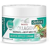 Victoria Beauty Dag och natt anti-åldrande fuktkräm med kollagen, hyaluronsyra, Matrixyl® 3000, hampafröolja och ett UVA…