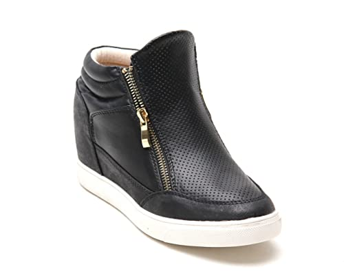 f77ee438363 Women Ladies New Trainers Wedge Side Gold Zips Smart Shoes Casual Size UK 3 -8