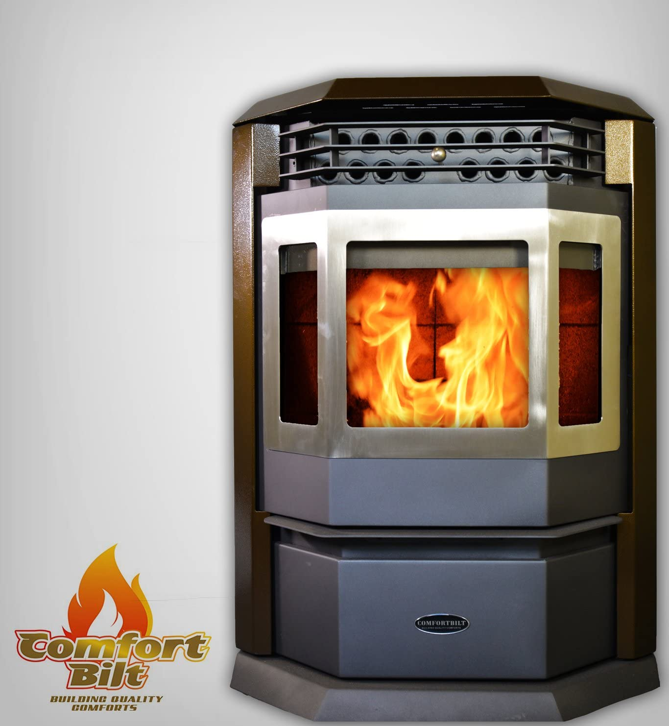 Comfortbilt Pellet Stove HP22-SS- 50,000 btu - Stainless Steel Golden Brown!
