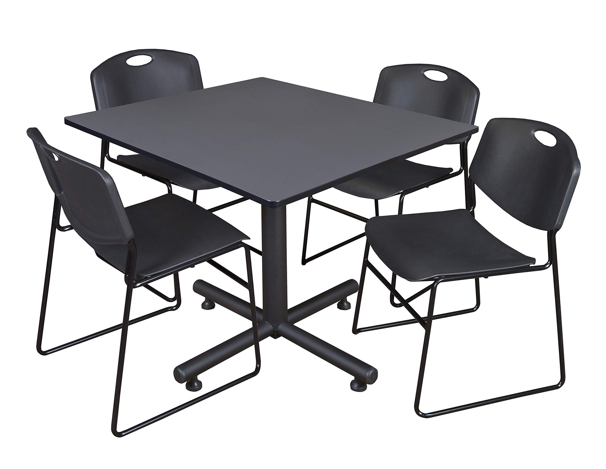 Regency Kobe 48-Inch Square Breakroom Table, Grey, and 4 Zeng Stack Chairs, Black by Regency Seating