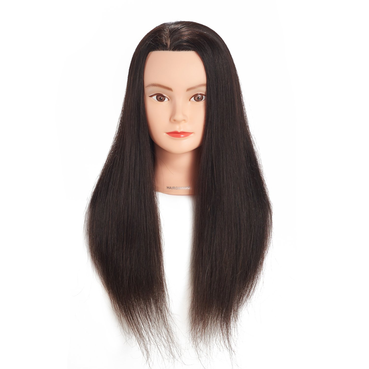 Hairginkgo 20-22 100% Human Hair Cosmetology Mannequin Manikin Training Head Doll Head With Free Clamp (92018B0218)