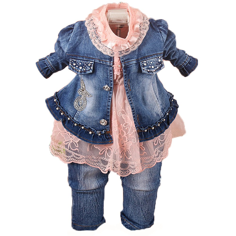 a97c033c6 Amazon.com: YAO Spring Autumn Infant Little Baby Girls Clothing Set 3  Pieces Sets T Shirt Jacket and Jeans: Clothing