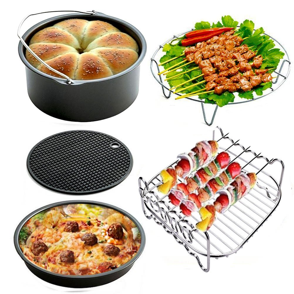 Air Fryer Accessories for Gowise Phillips and Cozyna Etc,Air Fryer Accessories Kit of 5 Fit all 3.7QT-5.3QT-5.8QT by FourWinner (Image #2)