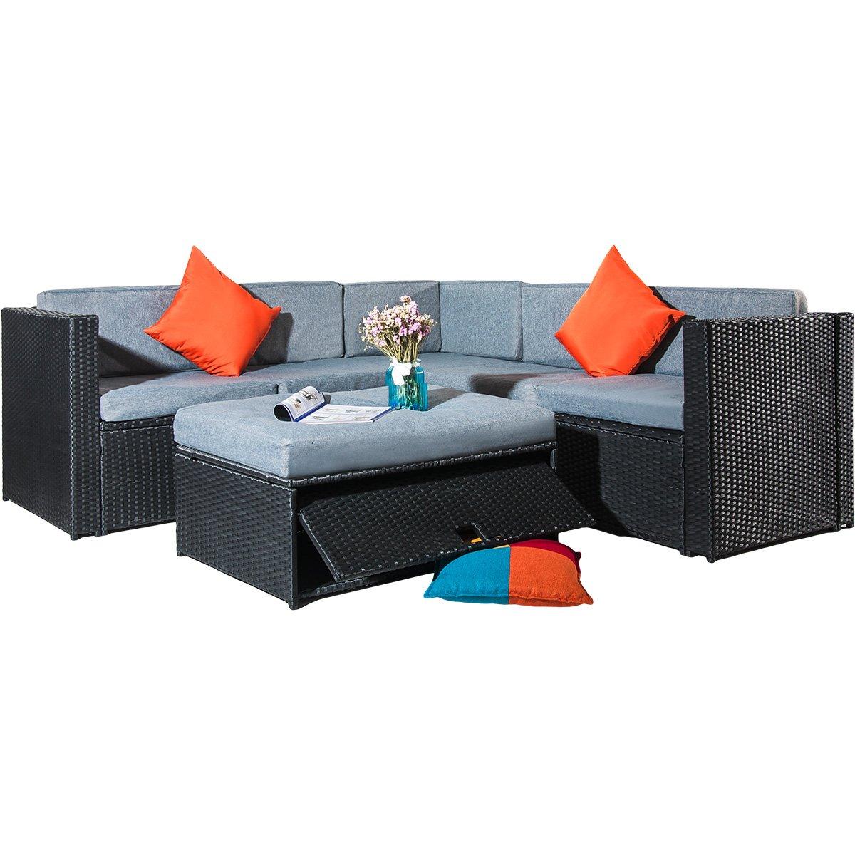 Tenozek 4 Piece Cushioned Outdoor Patio PE Rattan Furniture Set Sectional Garden Sofa