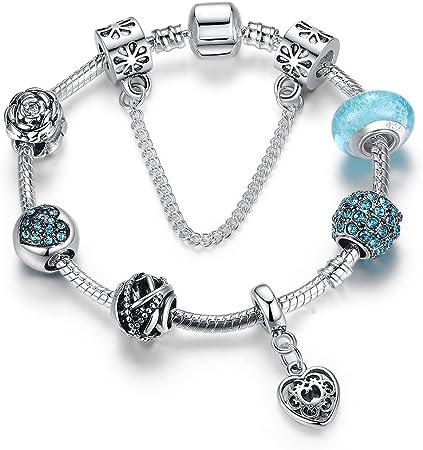 les anniversaires 21 centimetre Femme Bijoux Bleu Bracelet Breloque avec Pendentif Coeur en Plaqu/é Argent Cadeau parfait pour les f/êtes