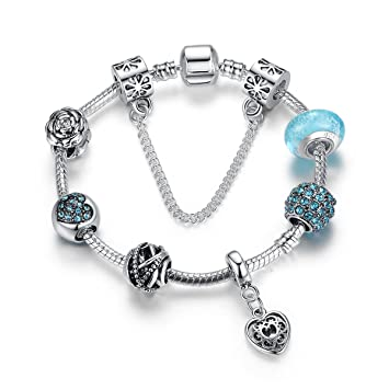42e4e20d6f7fa Bracelet Femmes en Argent 925 Plaqué,Bleu Verre Perles CœUr Breloque,Bijoux  Fantaisie,Cadeau