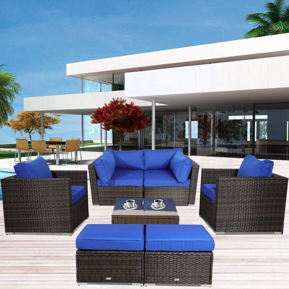 Outdoor Rattan Sofa Patio Furniture Garden Couch Sectional Set Conversation Sofa Sets Outside Sofa Royal Blue Cushions 7 Pcs