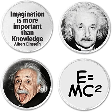 IMAGINATION IS MORE IMPORTANT THAN KNOWLEDGE EINSTEIN Sew-On//Iron-On Patch