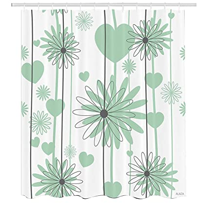 Hearts Shower CurtainFloral Abstract Striped Background Soft Color Daisies Nature FlourishFabric Bathroom