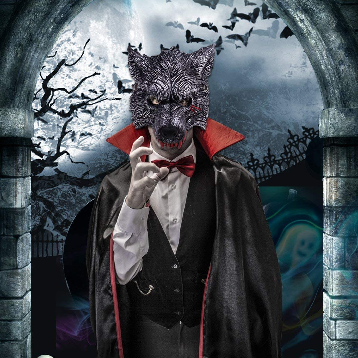 Halloween Wolf Head Mask with Blood Stains, Dark Grey Half Wolf Mask with Vivid Design for Party Decoration