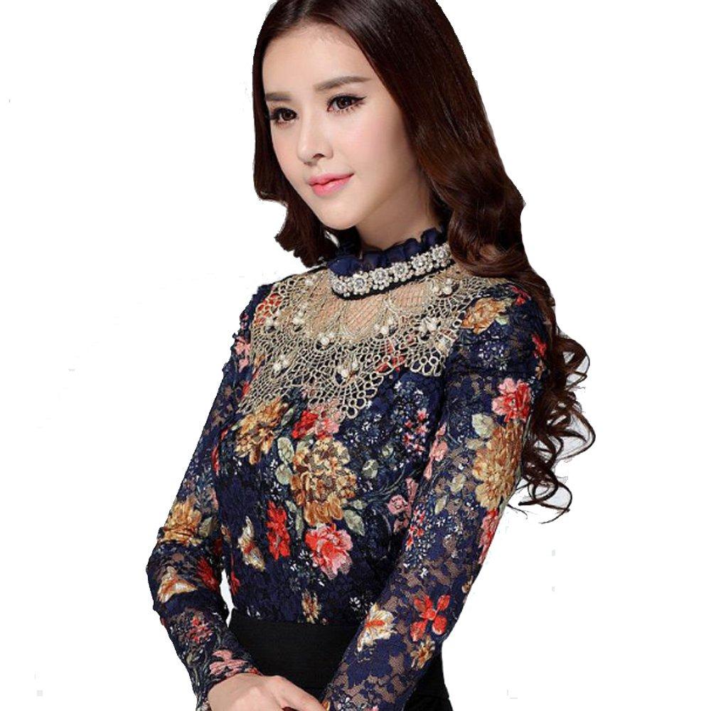 ab7730cb771c9 dingaozlz Plus Size Hollow Out Women Blouses Long-Sleeve Floral Printed Lace  Tops Slim Beaded Gauze Chiffon Shirt at Amazon Women s Clothing store