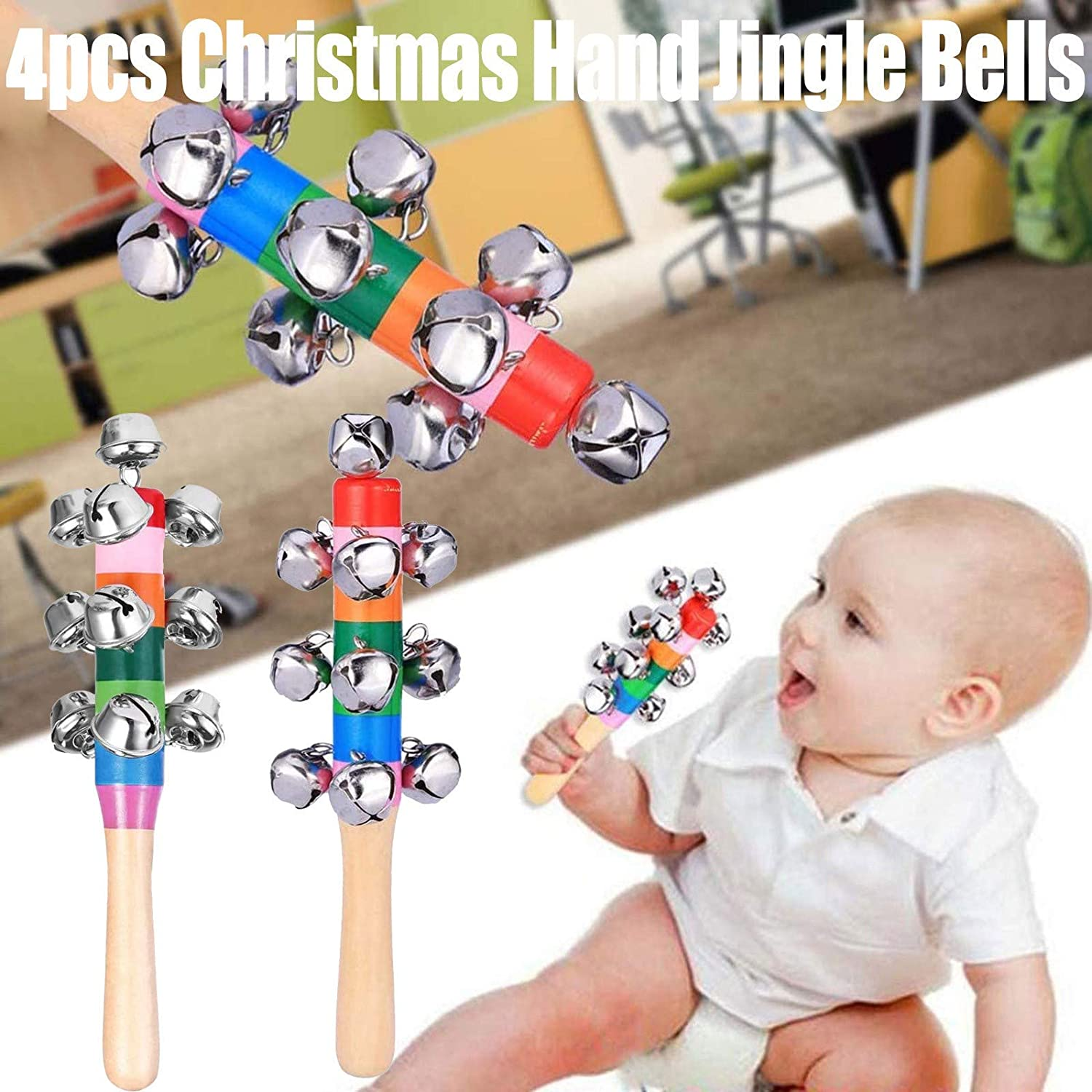 beetleNew 1-10PC Christmas Hand Jingle Bells Hand Sleigh Bells Musical Instrument Toy Wooden Handle School Desk Ringbell for Holiday Wedding Babies Nickel Plated Bells Xmas Decoration