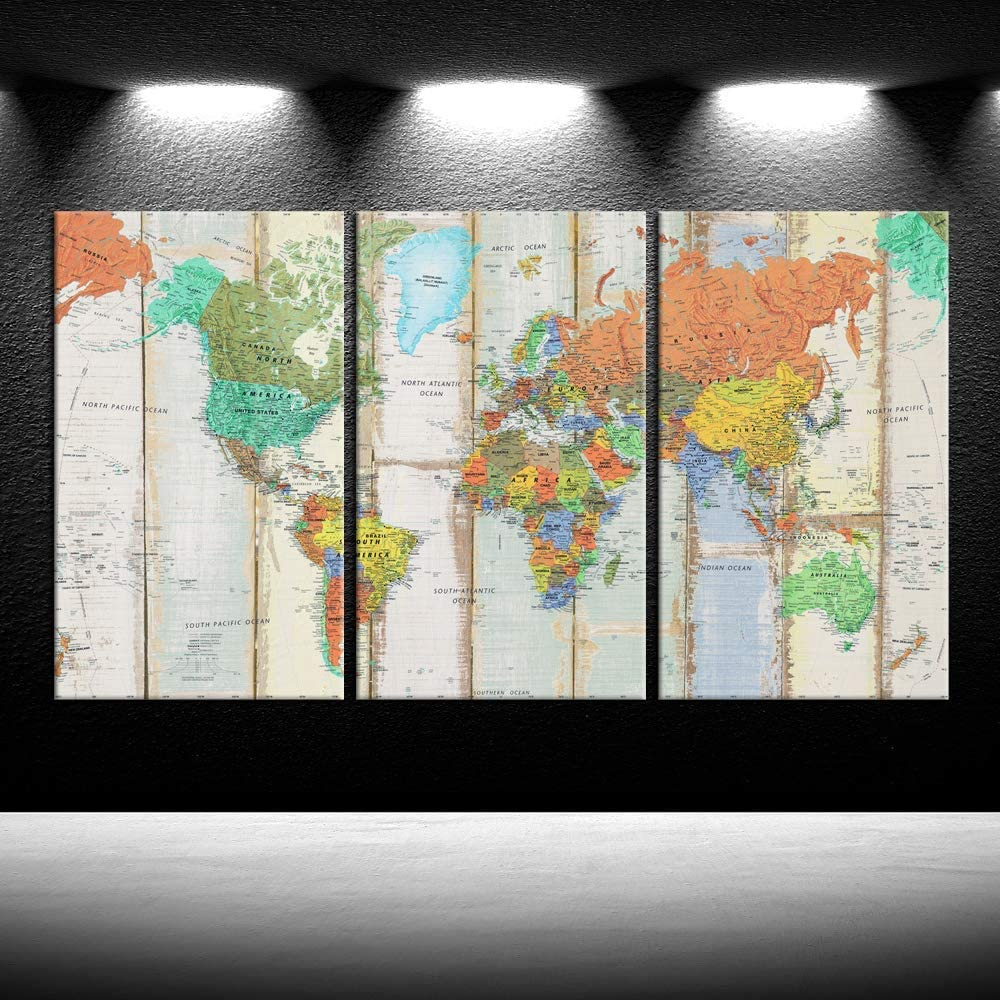iKNOW FOTO 3pcs World Map Canvas Wall Art Vintage Map Of The World Canvas Prints Stretched Framed Ready To Hang Giclee Artwork Wall Decor Contemporary Painting For Living Room Office Decor 20x36inx3