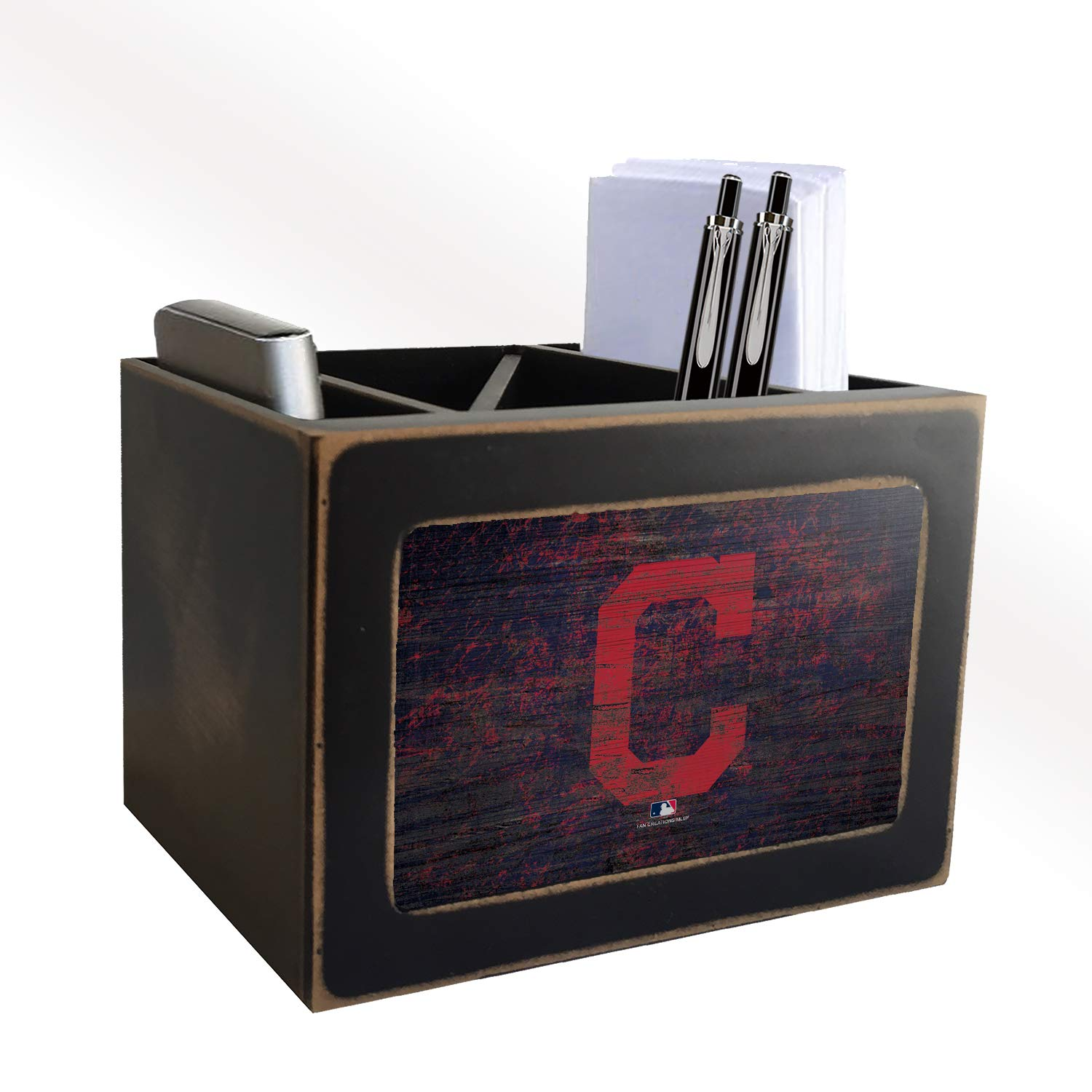 Fan Creations MLB Cleveland Indians Distressed Team Logo Desktop Organizer with Color by Fan Creations