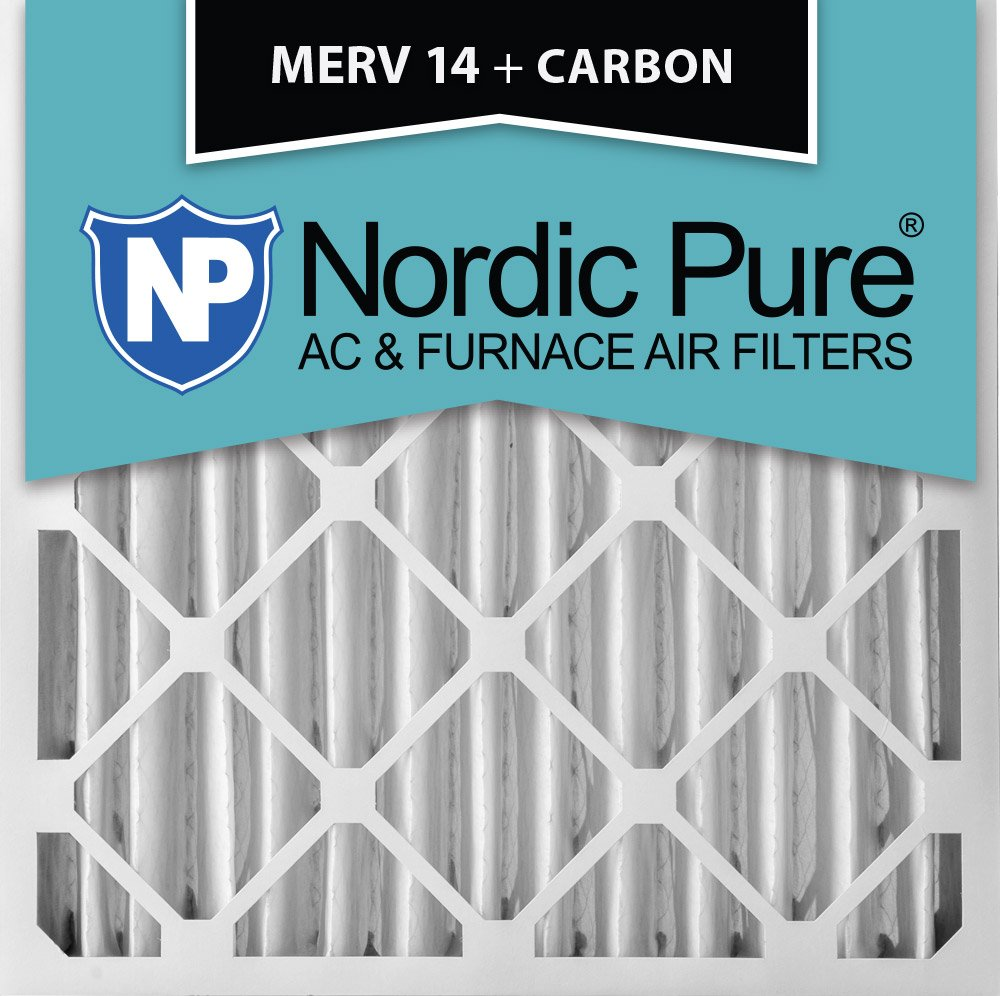 Nordic Pure 20x20x4M14+C 20-Inch by 20-Inch by 4-Inch MERV 14-Inch Plus Carbon AC Furnace Air Filter, 6-Piece