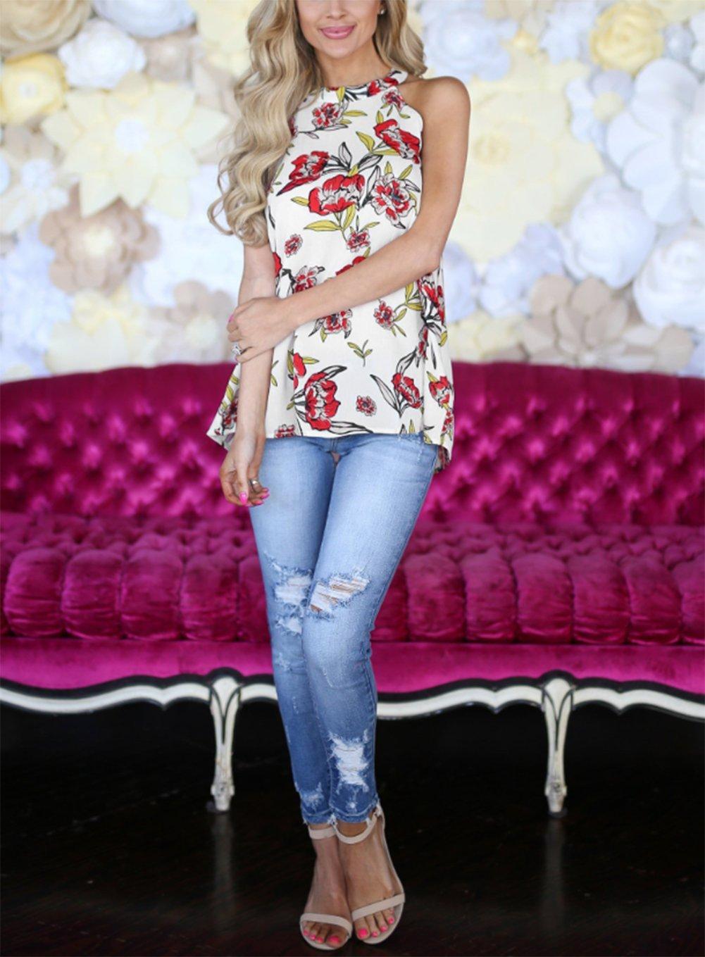 Comcrib Womens Casual Floral Printed Sleeveless Vest Shirt, Ladies Tank Top Blouse Tunic Tops Summer Beachwear T-Shirt by Comcrib (Image #6)