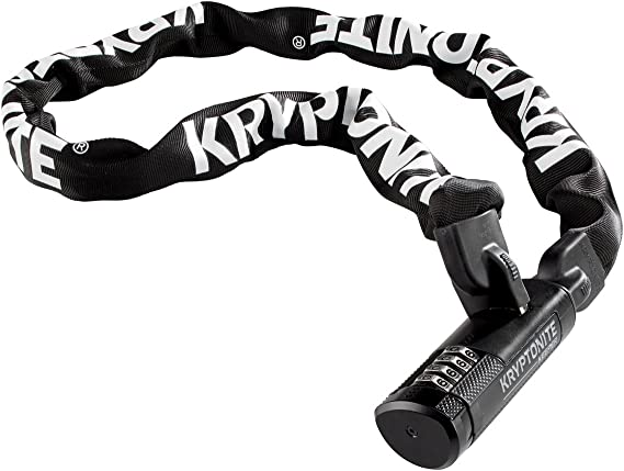 Kryptonite Keeper 411 Chain Lock with Keys 4mm x 110cm Black Protective Cover