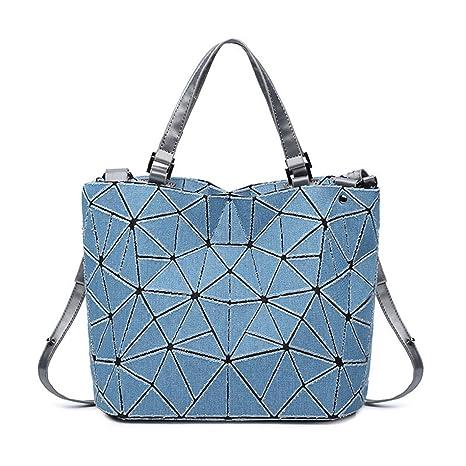 Washed Denim Diagonal Bolsas de Mano geométrico Bolso de Tela Escocesa Hombro Cruz Bolsa de Cuerpo