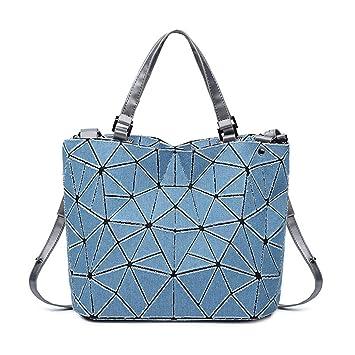 Washed Denim Diagonal Bolsas de Mano geométrico Bolso de Tela Escocesa Hombro Cruz Bolsa de Cuerpo Enrejado señoras Bolsa de Noche 2: Amazon.es: Equipaje