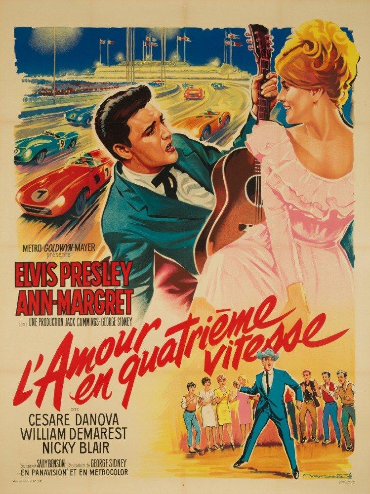 L'Amour en Quatrieme Vitesse - Elvis Presley Vintage Poster (artist: Soubie) France c. 1964 (24x36 Giclee Gallery Print, Wall Decor Travel Poster) by Lantern Press