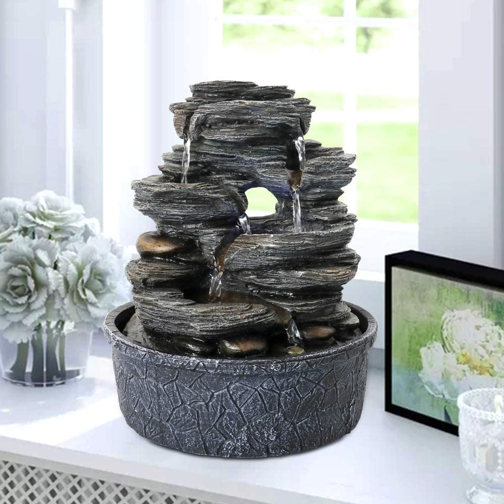 Amazon Com Chillscreamni Led Lighted Tabletop Fountain 9 8 5 Tiered 6 Water Flow Resin Rock Relaxation Indoor Fountain Designed As Led Illuminated Waterfall Fountain With Led Light Soothing Water Feature Home Kitchen