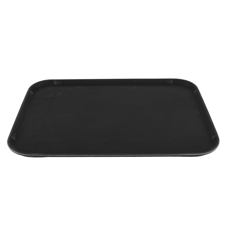 GET NS-1622-BK BPA-Free Non-Slip Plastic Rectangular Serving Tray, 16