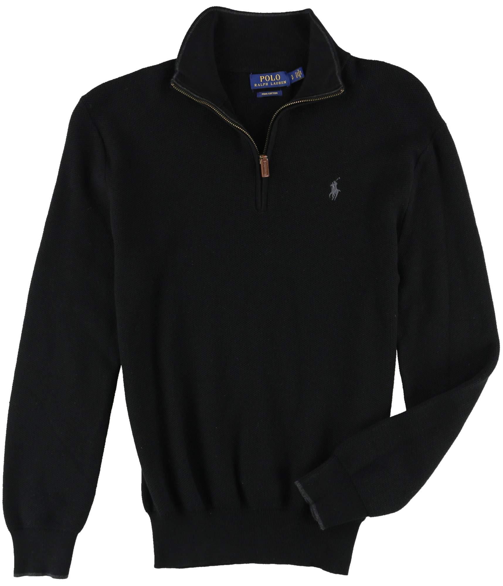 Polo Ralph Lauren Mens Ribbed Trim Zipper Henley Sweater Black S