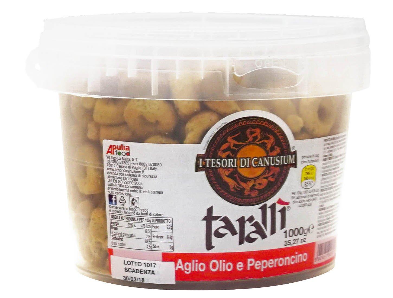 I Tesori di Canusium: ''Aglio Olio e Peperoncino'' Italian Taralli, Garlic Oil and Chilli Taste - 35 Ounces (1000gr) Package [ Italian Import ]