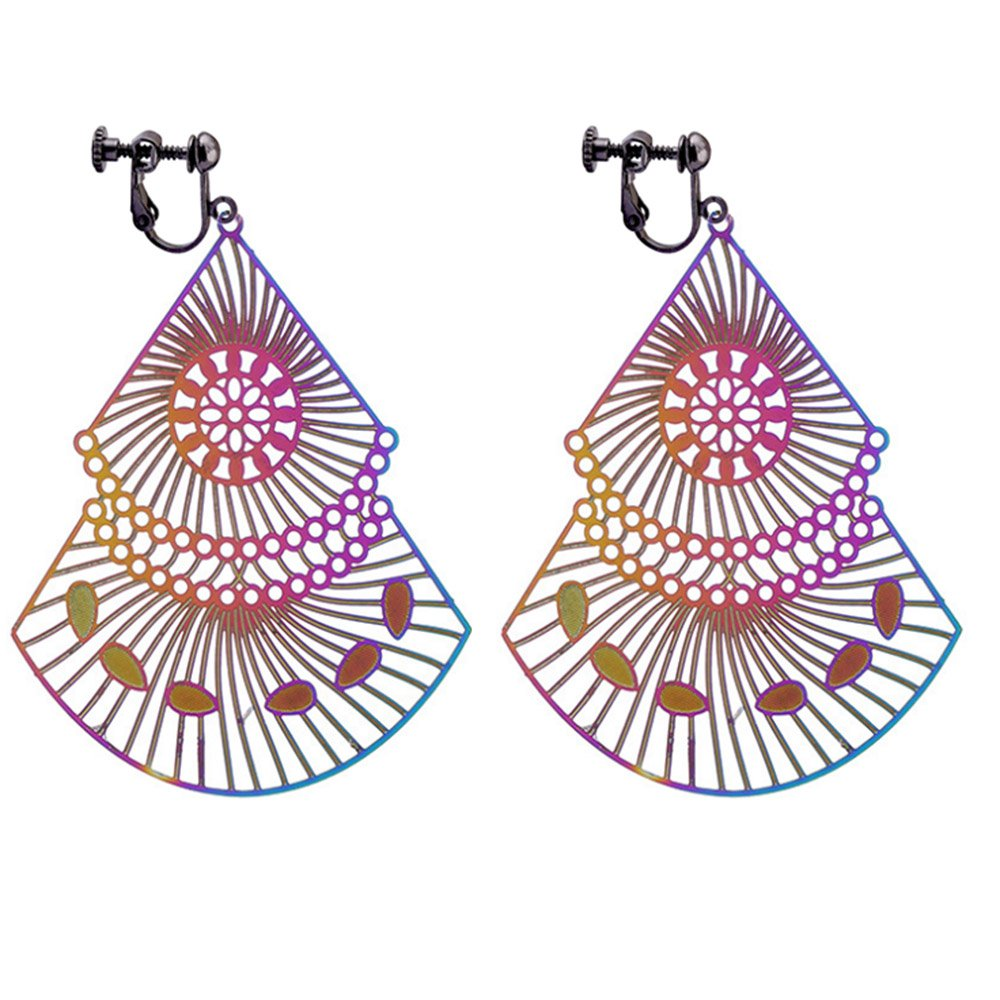 Clip On Earrings Geometric Colorful Tassel Earrings Dangle Black Plated Proms Gift