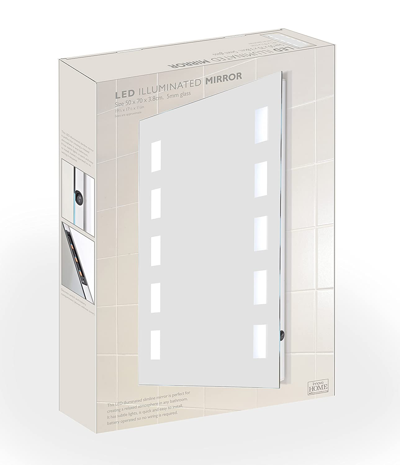 50 x 70cm Battery Powered LED Mirror Illuminated Slimline Rectangle ...