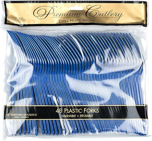 48 Forchette Usa e Getta//Confezione JAM PAPER Utensili per Feste Blu Reale Forchette in Plastica