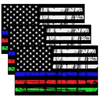 CREATRILL Reflective Tattered Thin Blue Red Green Line Decal Matte Black – 3 Packs 3x5 in. American USA Flag Decal Stickers for Cars, Trucks, Hard Hat, Support Police Fire Officers Military Troops: Automotive